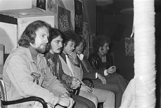 Sneaky Pete Kleinow - The Flying Burrito Brothers in Amsterdam, 1970. Kleinow is pictured in the foreground at the far left.
