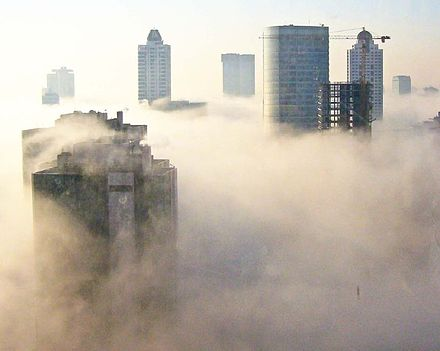 Fog, seen here shrouding Levent, frequently forms in the morning. Fog-over-istanbul-skyscrapers.jpg