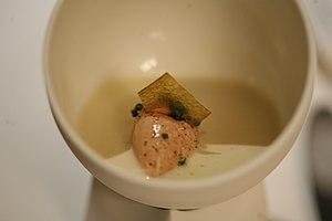 Parfait - Jelly of quail, langoustine cream, parfait of foie gras