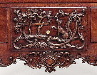 The Fox and the Grapes - A wooden panel from an 18th-century chest of drawers