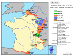 History of French foreign relations - Territorial expansion of France under Louis XIV is depicted in orange.