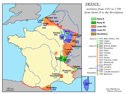 Territorial expansion of France under Louis XIV (1643-1715) is depicted in orange France 1552-1798.png