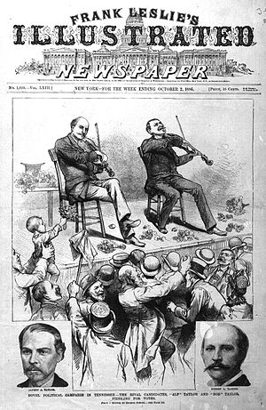 Robert Love Taylor - The Taylors' 1886 campaign, as depicted on the cover of the October 2, 1886 issue of Frank Leslie's Illustrated Newspaper