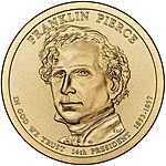 A one-dollar coin featuring Pierce.