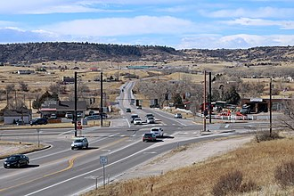 Colorado State Highway 86 - SH 86 (lower left corner to top) and SH 83 (left to right) in Franktown