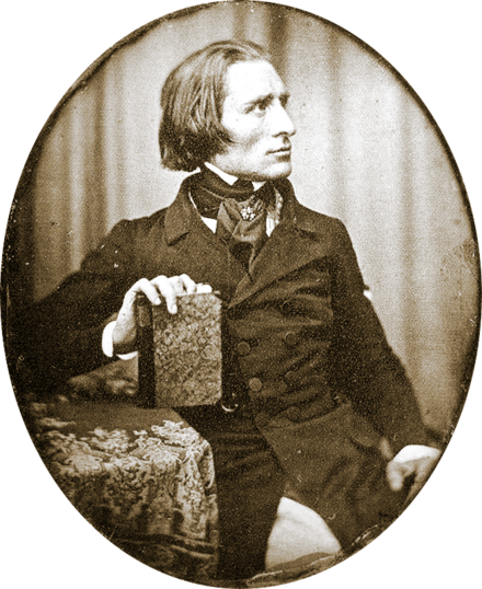 Earliest known photograph of Liszt (1843) Franz Liszt by Herman Biow- 1843.png