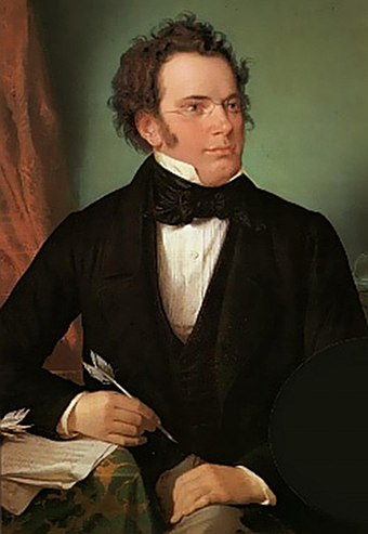 1875 oil painting of Franz Schubert by Wilhelm August Rieder, after his own 1825 watercolor portrait Franz Schubert by Wilhelm August Rieder 1875.jpg