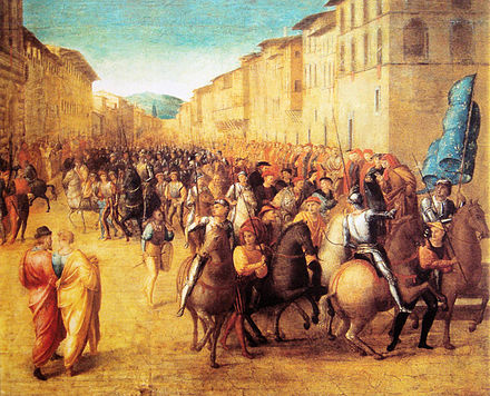 French troops under Charles VIII entering Florence, 17 November 1494, by Francesco Granacci French troops under Charles VIII entering Florence 17 November 1494 by Francesco Granacci.jpg