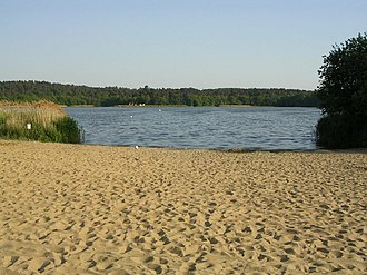Frensham Common - Great Pond with beach area