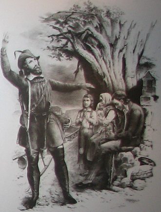 Baden Revolution - Stylised portrait of Friedrich Hecker (1811–1881), on the left
