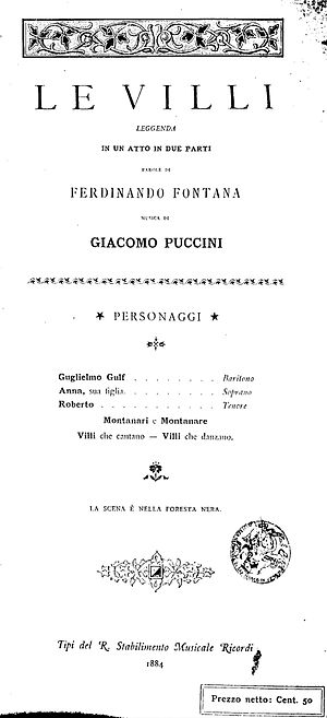 Le Villi - The front cover of the first printed libretto of Le Villi