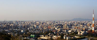 View of downtown Fukuoka as seen from an observation deck in Minami-ku, facing north.