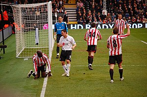 Craig Gordon - Gordon (blue shirt) playing for Sunderland against Fulham in 2008