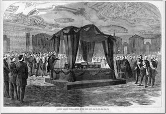 East Room - Lincoln funeral in the East Room (Harper's Weekly, May 6, 1865)