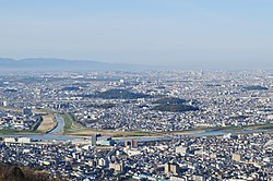 Panoramic view of downtown Habikino and Furuichi tomb group heritage site