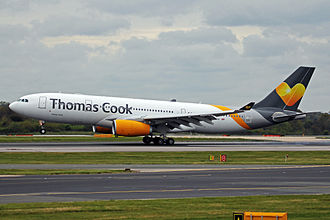Thomas Cook Airlines - Thomas Cook Airlines Airbus A330-200 taking off from Manchester Airport, UK.