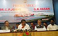 G.K. Vasan and the Union Minister for Road Transport and Highways, Dr. C.P. Joshi at a press meet after the review meeting with State Ministers and Port and Highways Officials, in Chennai on January 23, 2012.jpg