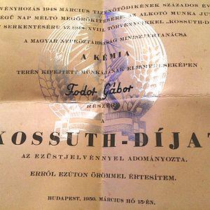 Kossuth Prize - Chemist Gabor Bela Fodor, 1950