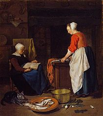 A Maid-Servant with Fish and an Old Woman Asleep