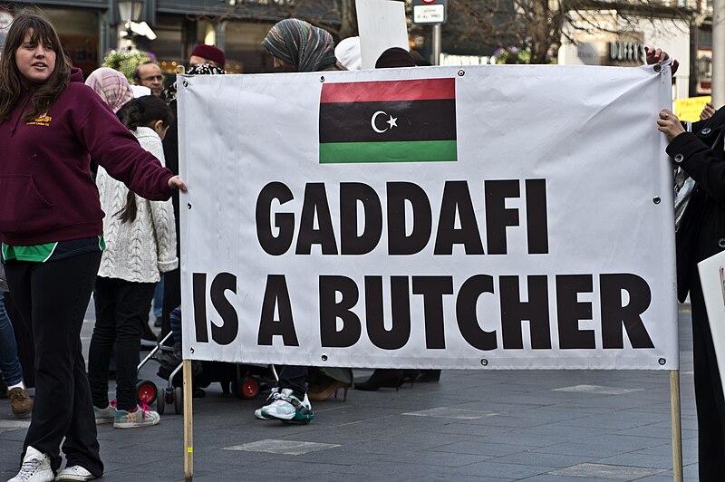 Gaddafi Is a Butcher - Libyan Protest Meeting In Dublin.jpg