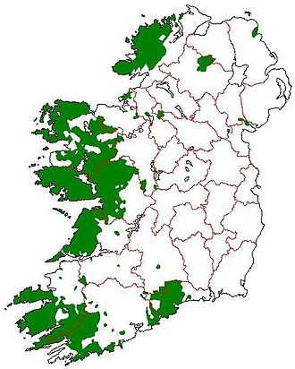 Gaeltacht - An Ghaeltacht 1926; areas of the island of Ireland which would have qualified for Gaeltacht status according to the first Coimisiún na Gaeltachta