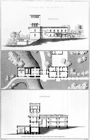Ejemplo de un Proyecto Arquitectónico. De arriba hacia abajo: representación en elevación, planta y corte