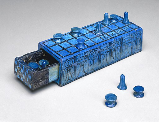Gaming Board Inscribed for Amenhotep III with Separate Sliding Drawer, ca. 1390-1353 B.C.E.,49.56a-b