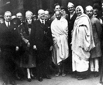 Darwen - Mohandas K. Gandhi in Darwen, 26 September 1931 with Mirabehn (Madeleine Slade).