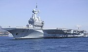 France's Charles de Gaulle (R-91), currently the only nuclear powered aircraft carrier operated by a country other than the United States.