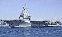The Charles De Gaulle nuclear-powered aircraft carrier.