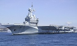 The aircraft carrier Charles de Gaulle in the Rade of Toulon