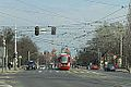 Gdańsk ulica Hucisko i tramwaj Moderus.JPG