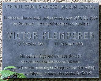 Victor Klemperer - A plaque on Victor Klemperer's former residence in Berlin-Wilmersdorf