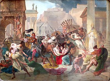 Geiseric plunders Rome, history painting
