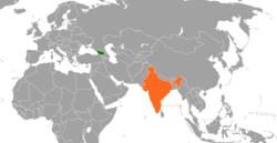 Map indicating locations of Georgia and India