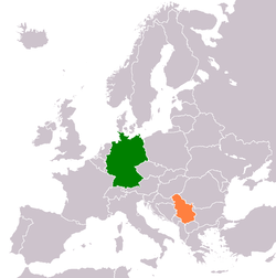 Map indicating locations of Germany and Serbia
