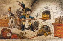 Im Jahr 1806 wurde die Batavische Republik in das Königreich Holland umgewandelt. Unter der Regentschaft von Napoleons Bruder Louis standen die Niederlande fortan unter einer stärkeren Kontrolle der Französischen Republik, was sich auch in einer Verschärfung der Zensur widerspiegelte. Zeitgenössische Künstler wie der Engländer James Gillray verarbeiteten dieses Ereignis auf ironische Weise. Die wohl bekannteste Karikatur aus dem Jahr 1806 mit dem Titel Tiddy Doll, der große französische Pfefferkuchenbäcker, zieht einen Schub frischgebackener Könige aus dem Ofen zeigt Napoleon, wie er gemeinsam mit seinem Außenminister Talleyrand an der Herstellung weiterer Marionettenkönige arbeitet. (Quelle: Wikimedia)