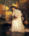 Girl Playing Solitaire oil 1909 Frank Weston Benson.jpg