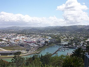 Gisborne, New Zealand - Central and northeastern Gisborne viewed from Kaiti Hill