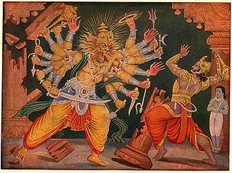 Hiranyakashipu - Hiranyakashipu wielding a mace against Narasimha