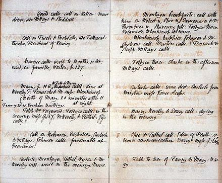 "Page from William Godwin's journal recording ""Birth of Mary, 20 minutes after 11 at night"" (left column, four rows down) GodwinJournal.jpg"