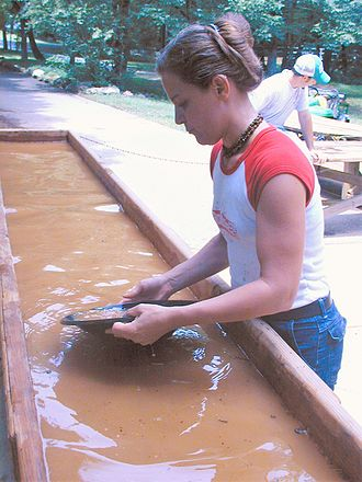 Reed Gold Mine - Panning for gold at the mine