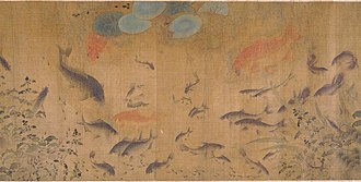 Carp - Goldfish and other carp from Fish Swimming Amid Falling Flowers, a Song dynasty painting by Liu Cai  (c. 1080–1120)