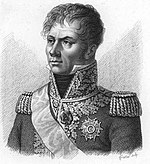 Print depicts a hatless and clean-shaven man with a confident look. Looking to the viewer's left, he wears a dark military coat with epaulettes and a high collar with lots of gold braid.