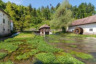Bistra, Vrhnika - Karst source of the Bistra River, a source tributary of the Ljubljanica, at Bistra
