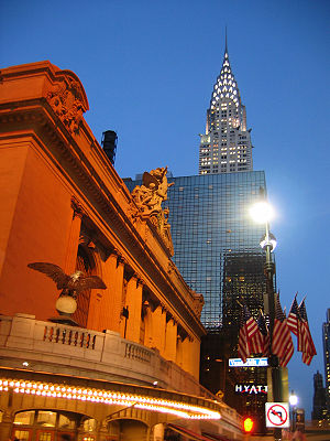 Grand Hyatt New York - View eastward from Vanderbilt Avenue at night. The Grand Hyatt is east of the Grand Central Terminal but west of the Chrysler Building.