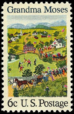 Grandma Moses - The 1969 U.S. postage stamp honoring Grandma Moses. It re-creates her painting Fourth of July, which the White House owns.