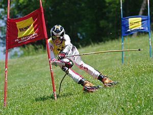 Grass skiing - Austrian grass skier Hannes Angerer at the 2010 Austrian Grasski Championships in Rettenbach.