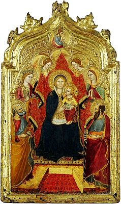 Gregorio di Cecco.Madonna enthroned with Angels.XV cent. Liechtenstein museum.jpg