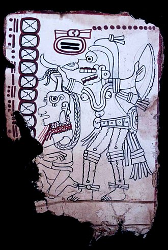 Grolier Codex - Page 6 of the Grolier Codex, depicting a death god with captive